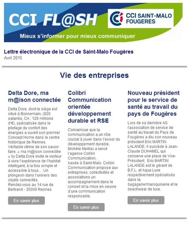 Newsletter CCI Saint-Malo Fougères sur Colibri communication avril 2015_COLIBRI COMMUNICATION_AGENCE DE COMMUNICATION SAINT-MALO RENNES PARIS